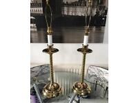 Large pair of brass lamps all working