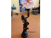 Spelter bronze figurine lamp