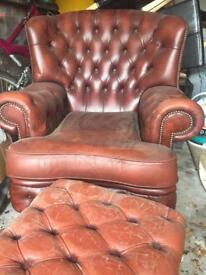 "Single ""Chesterfield"" Armchair & Footstool"