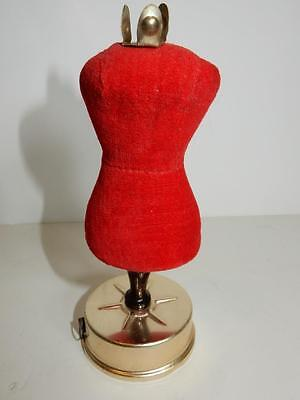 VINTAGE HIDDEN TAPE MEASURE & PIN CUSHION SEWING KIT RED MANNEQUIN