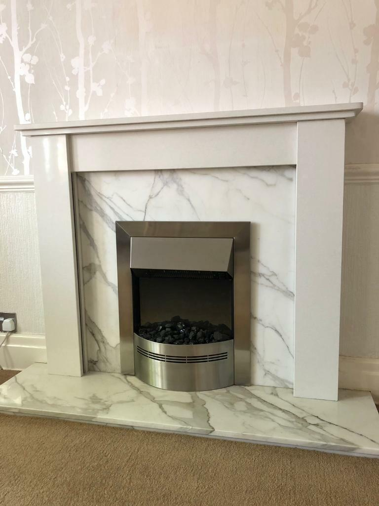 Enjoyable Electric Fire And Marble Fireplace In Urmston Manchester Gumtree Interior Design Ideas Tzicisoteloinfo