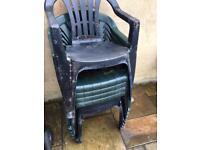 Green Plastic Garden Chairs X8