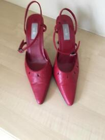 Ladies red leather slingback shoes