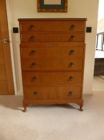 *** REDUCED *** 1930's Maples' Walnut Veneer Chest of Drawers