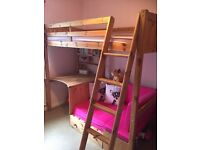 Hi-sleeper bed with pink futon and desk