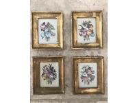 Antique Vintage set of 4 x Gold Leaf Silk Screen Art Prints Wall Picture