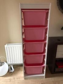 Ikea children storage unit with boxes