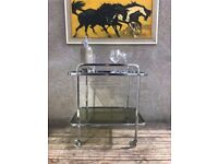 Retro Vintage Two Tier Chrome Metal and Smoked Glass Drinks Serving Hostess Trolley