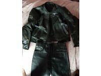 Motorcycle leather jacket and trousers £35 for both