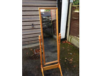 Pine free standing tall mirror on stand - good condition - 14'' x 50'' - Didsbury area