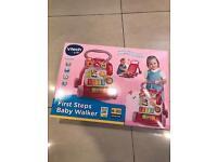 Pink VTech baby first walker