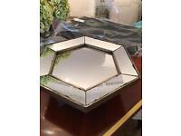 Beautiful Distressed Antiqued Hexagonal French Mirror