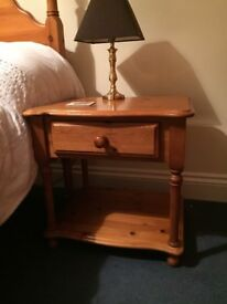 Antique pine bedside table x2