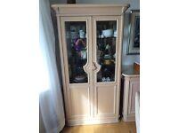 Limed oak display cabinet.