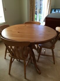DINING TABLE AND CHAIRS - SOLID PINE DINING TABLE AND 4 CHAIRS RRP £300 SELLING FOR £130 FOR ALL