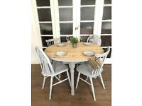 Pine table and 4 chairs free delivery Ldn shabby chic