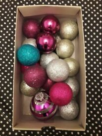 Box of Christmas tree baubels.