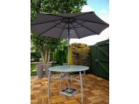 Garden Patio Table with Parasol & Base(No Chairs)