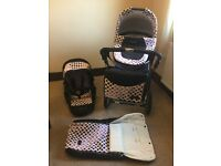 Baby lux pram- pushchair with rain cover and matching changing bag
