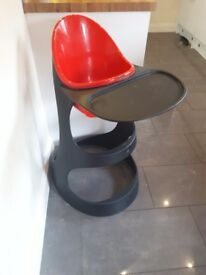 Red and black chic baby high chair.