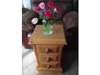 3 Draw Bedside Chest solid pine, in smart very clean condition has attractive rope effect detail VGC
