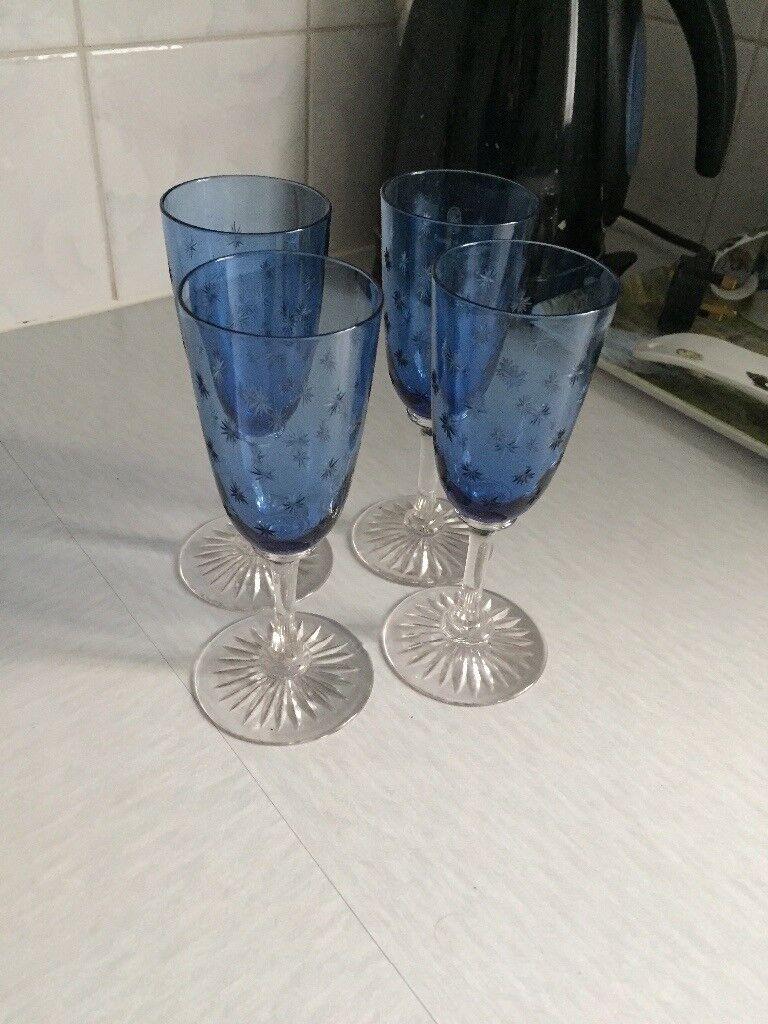 Pretty Blue set of 4 old glasses
