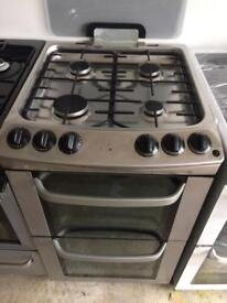 Stainless steel Electrolux 55cm gas cooker grill & double ovens good condition with guarantee