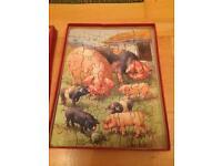 Vintage pigs jigsaw