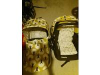 Cosatto Giggle Treet infant car seat and pram body