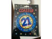 21st birthday mug coaster