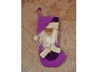 Purple Felt Fabric Father Christmas Santa Claus Christmas Tree Decoration Xmas