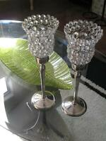 Two Crystal/Silver Decor Pieces