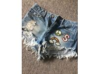 H&M high-waisted Denim shorts for Sale!