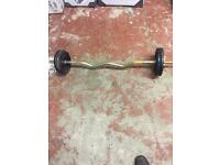 Weight training E-Z bar cast iron weights