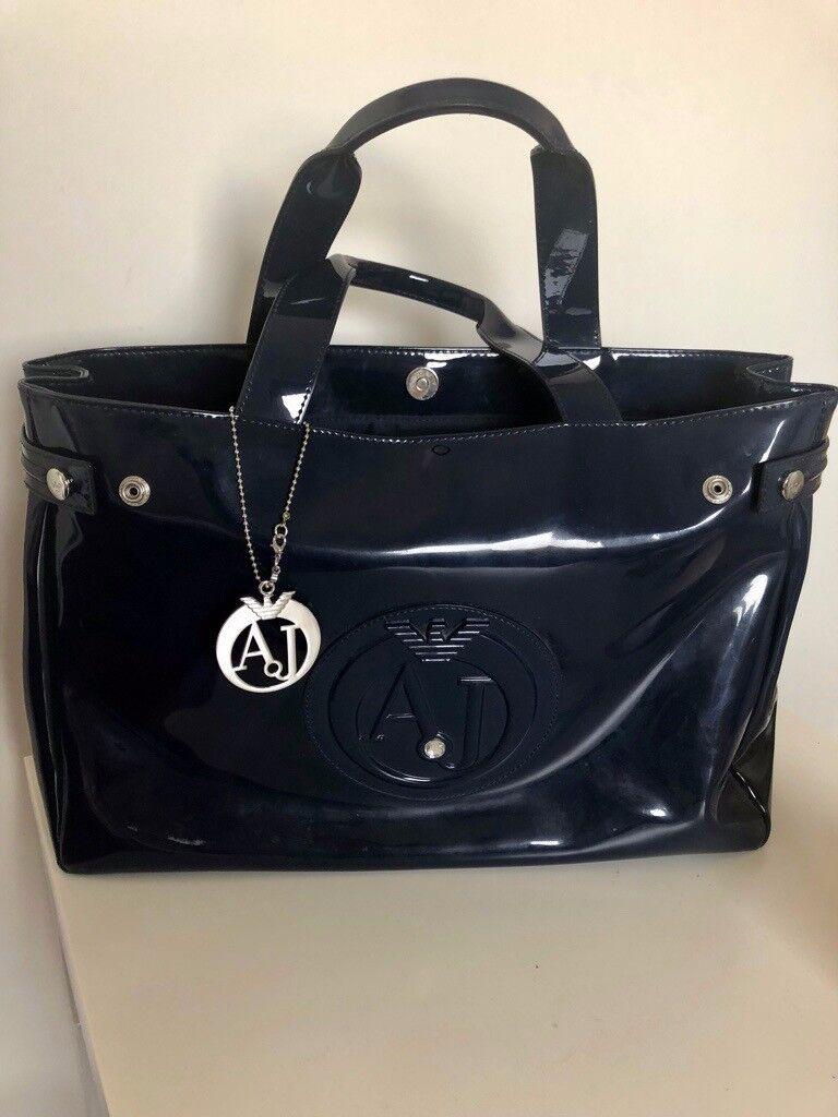 Armani Jeans Blue Patent Shopping Bag  59ba16efe6dec