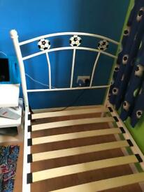 Boys single white Metal football theme bed