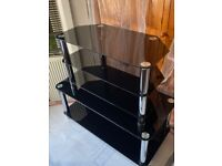 Black Glass Coffee Table + TV Stand Set