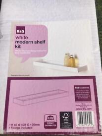 B&Q white modern bathroom shelf