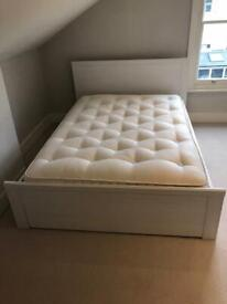 White Double Bed Frame with Storage Drawers