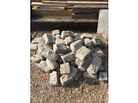 Reclaimed Granite brick sets cobbles