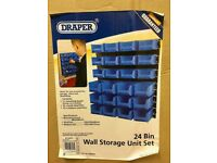 Draper 24 Bin Wall Storage Unit BRAND NEW Tools Screws Nails Bolts Garage Shed Workshop Organiser
