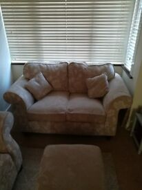 Two seater sofa, one seater chair and footstool