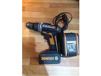 Worx drill 20v lithium 4.0ah hammer drill comes with two batteries and charge