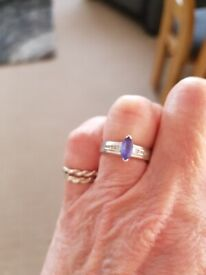 White gold tanzanite and diamond ring size k/l