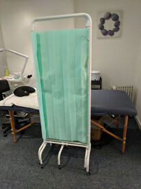 Privacy screen, metal frame, wheels attached, great for salon or clinic