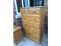 Large farmhouse pine chest of drawers (delivery available)