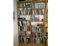 Wall hung bookshelving unit.