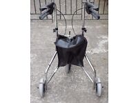 three wheeled walker, table, toilet frame etc