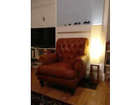 Wallace Sacks Story Tan Real Leather Chesterfield Armchair new, X display