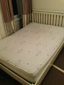 White Ikea Solid Wood Double Bed